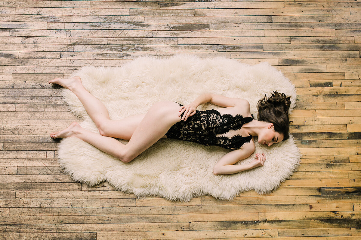 Boudoir photo taken from above in a Chicago loft