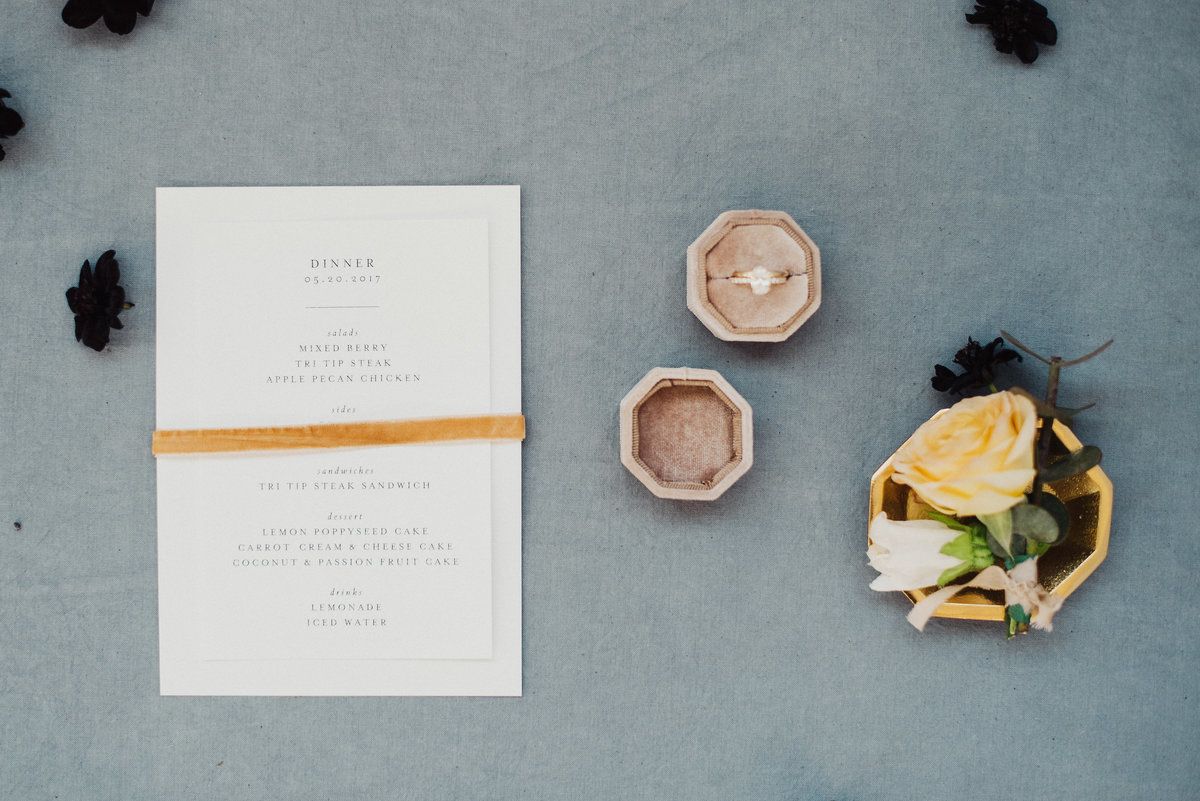 Menu cards, raw silk ribbon, utah wedding