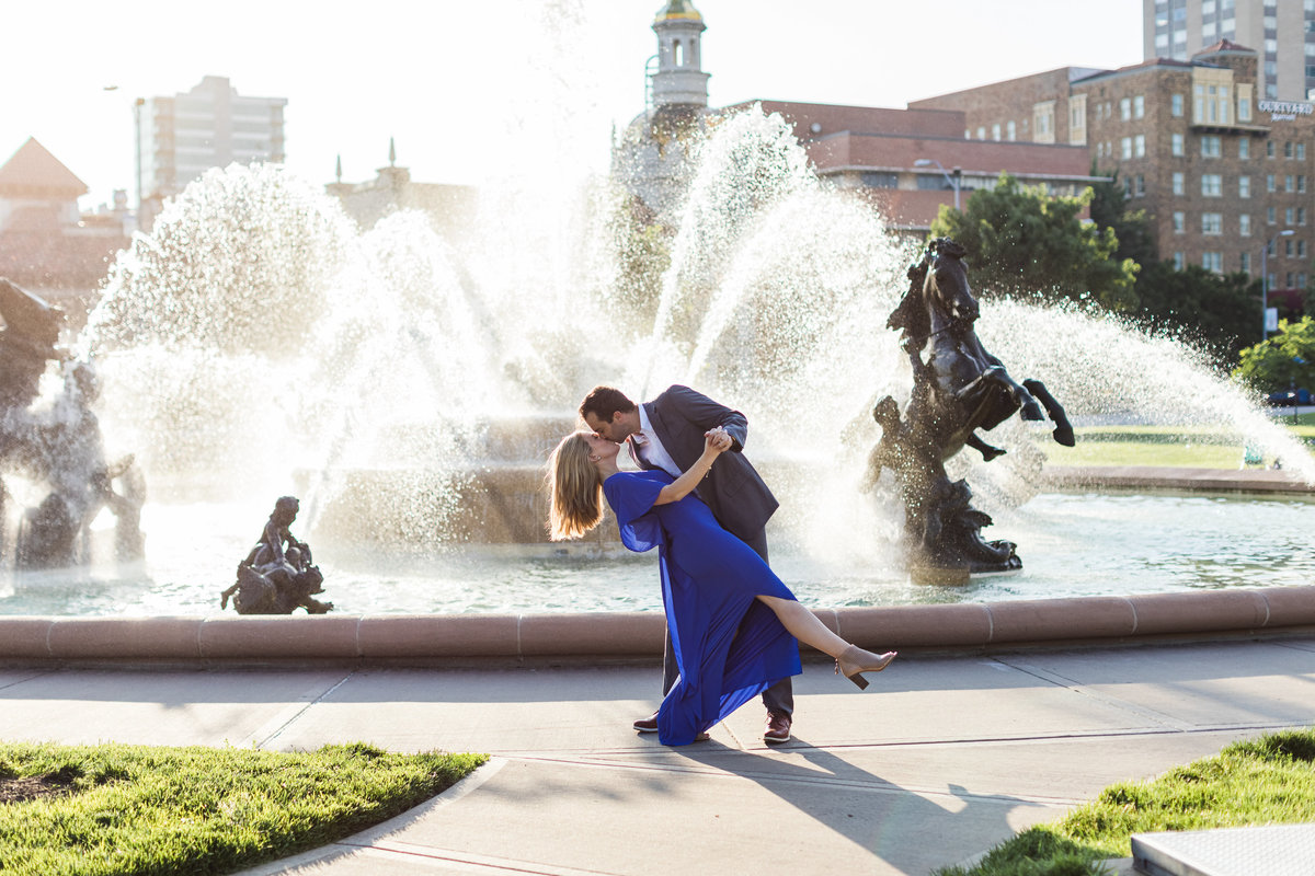 Kansas city country club plaza engagement photo