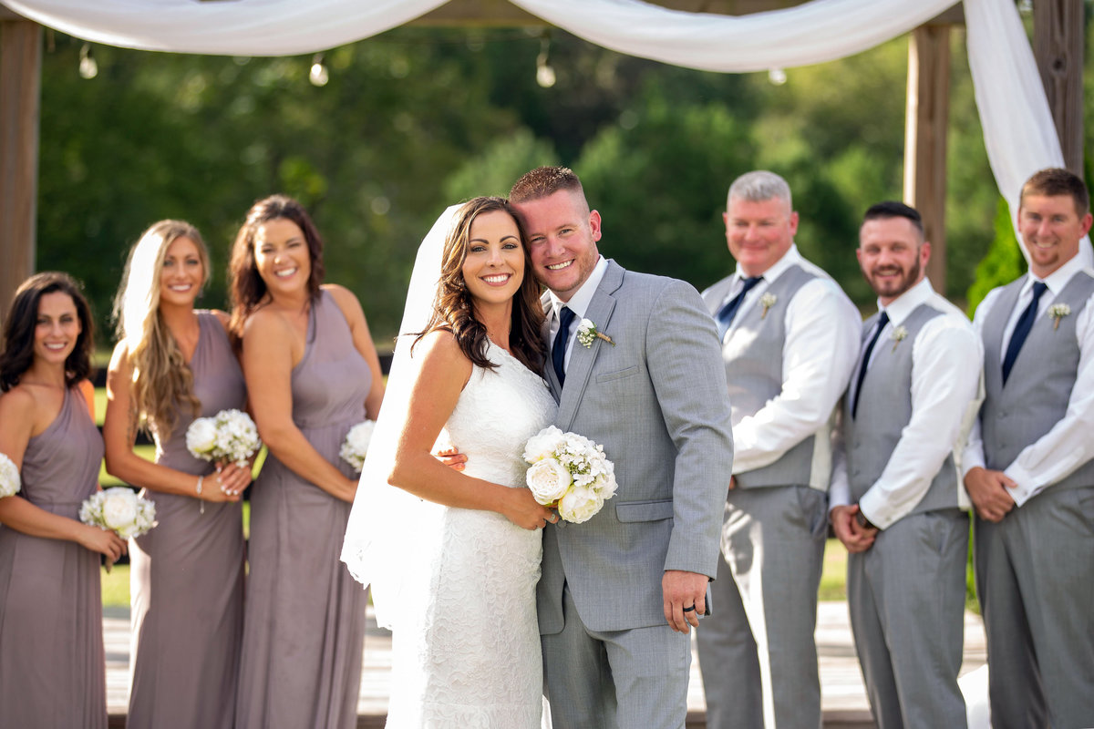 bridal Party in Gray Bride and Groom