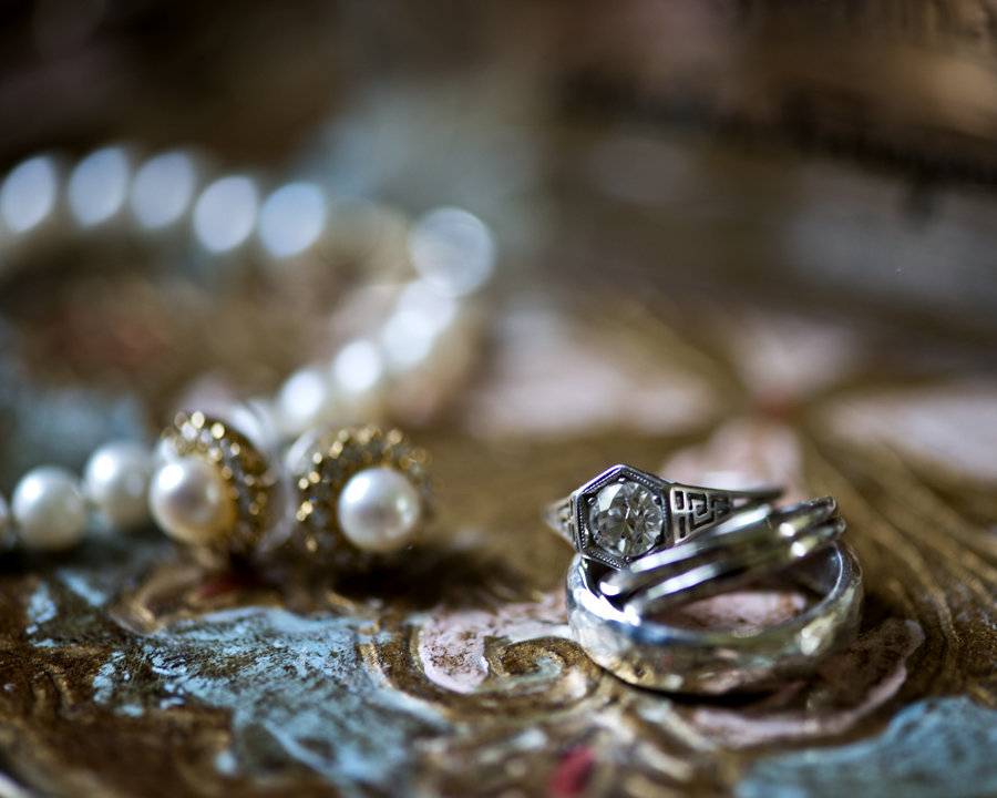 Vintage Engagement Ring and  Vintage Pearl Earrings on Italian Tray at Big Cork Vineyards