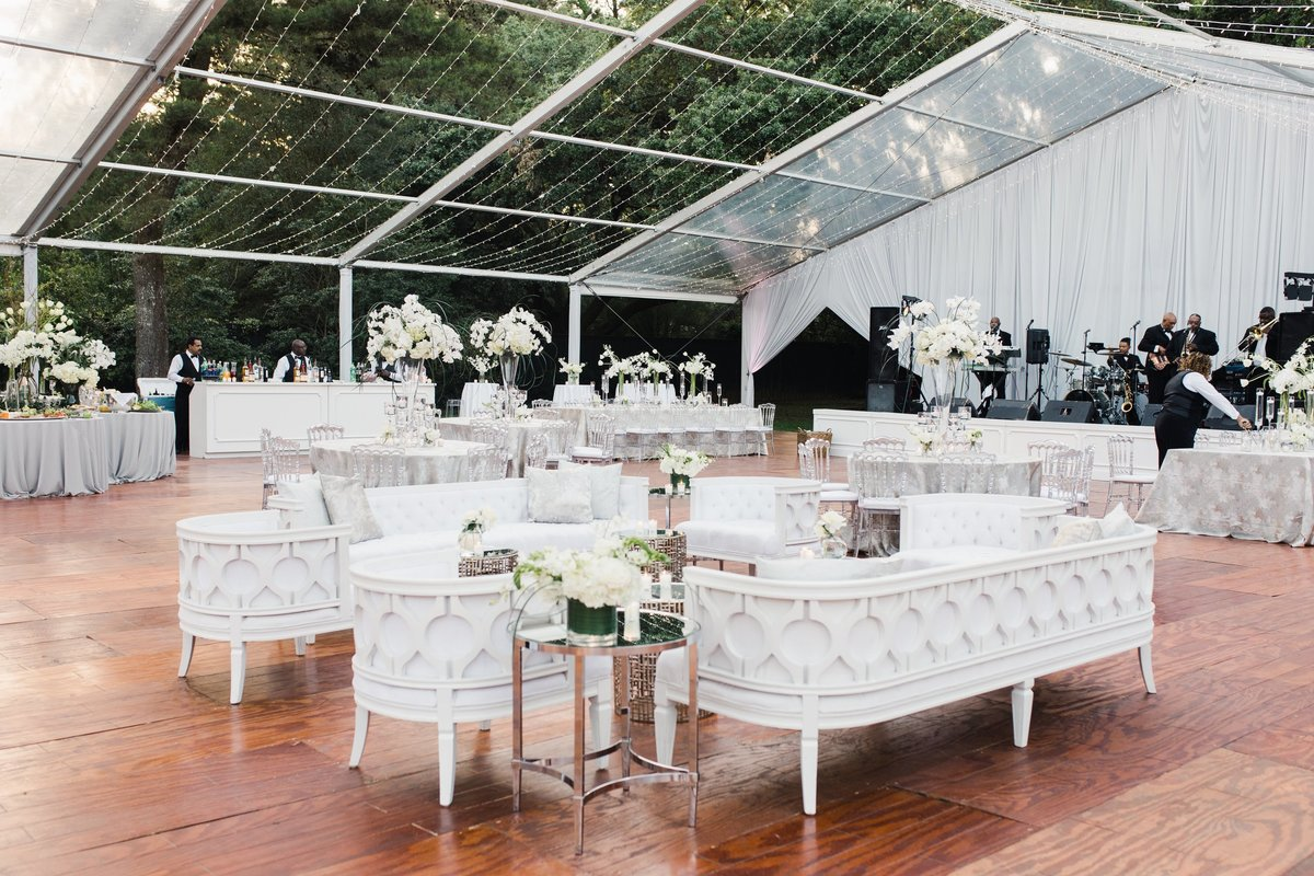 Wedding lounge for tented reception