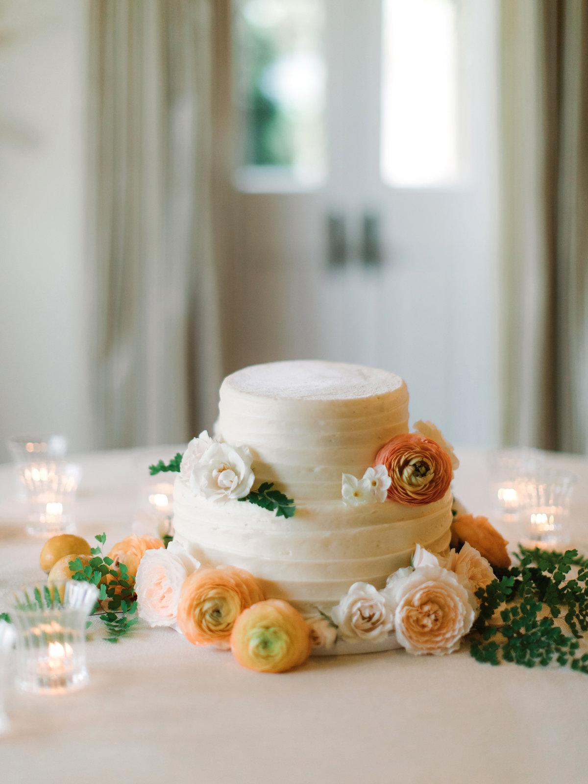 Cake for wedding by Jenny Schneider Events at a private residence in Marin County, California.