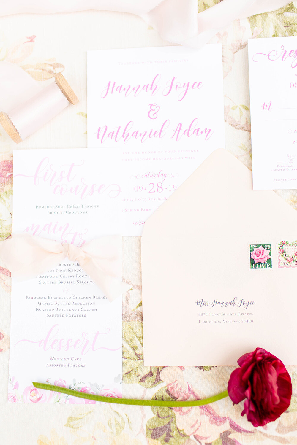 hope taylor workshop vellum floral wedding invitation vintage stamps 6