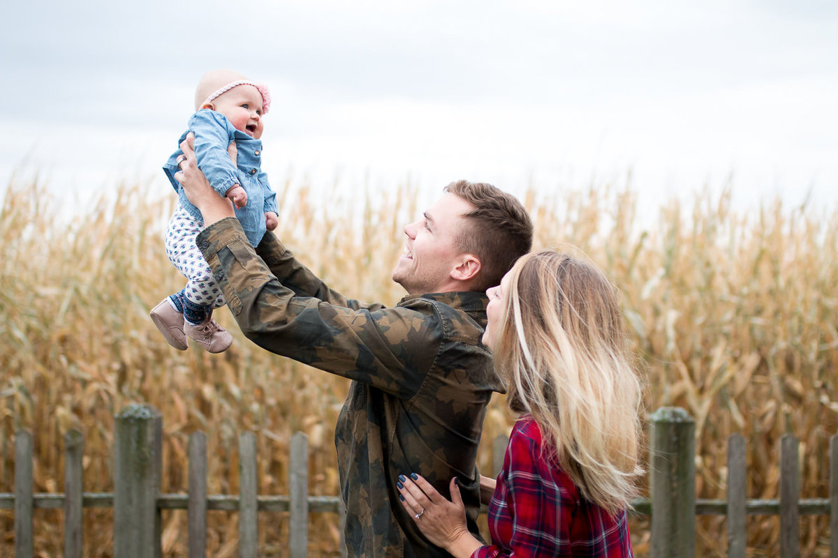 fall harvest inspired family photography session with young infant