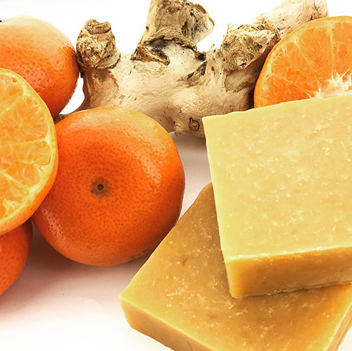 orange and ginger cold process soap