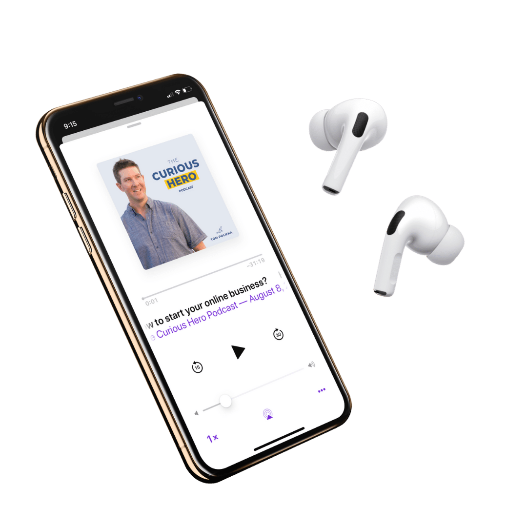 Curious Hero Podcast iphone airpods mockup