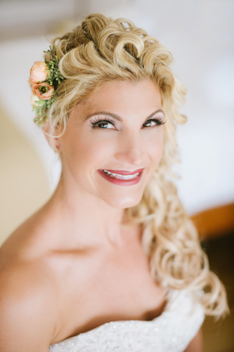 Close up of Bride at Her castle Hill wedding