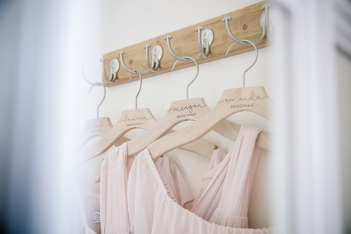 bridesmaids dress handing on custom hangers