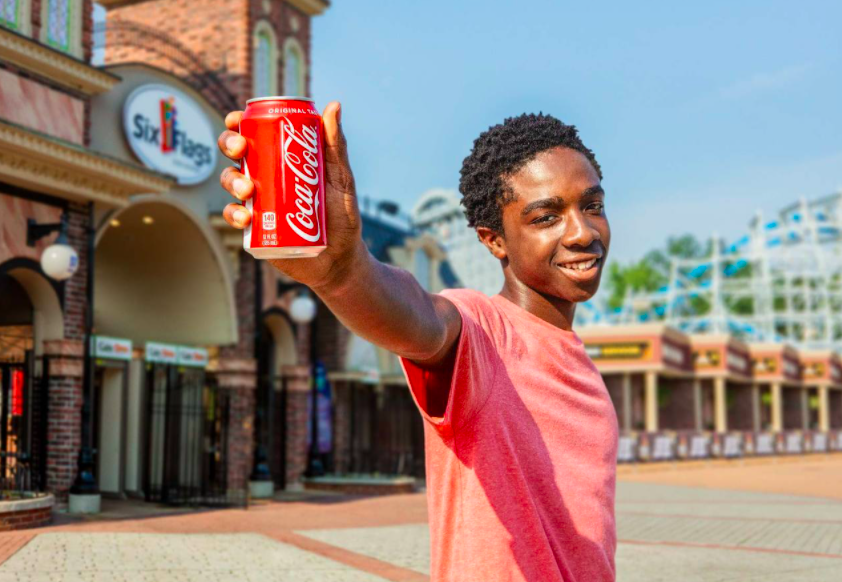 Caleb McLaughlin Stranger Things shoot for Coca Cola and Six flags theme park summer fun