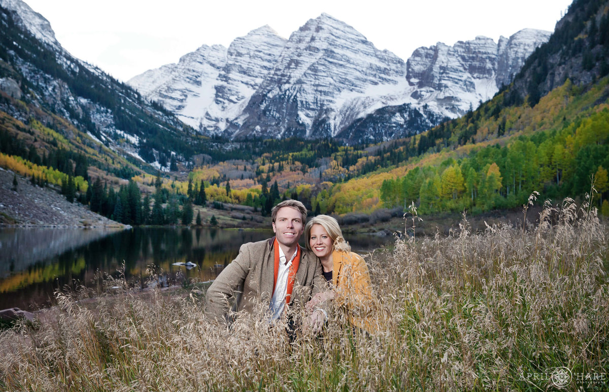 Beautiful Maroon Bells Fall Color Engagement Photography in Aspen Colorado