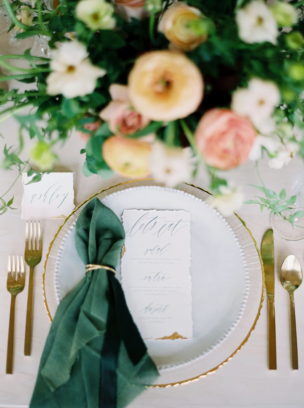 gold leaf, calligraphy, gold flatware