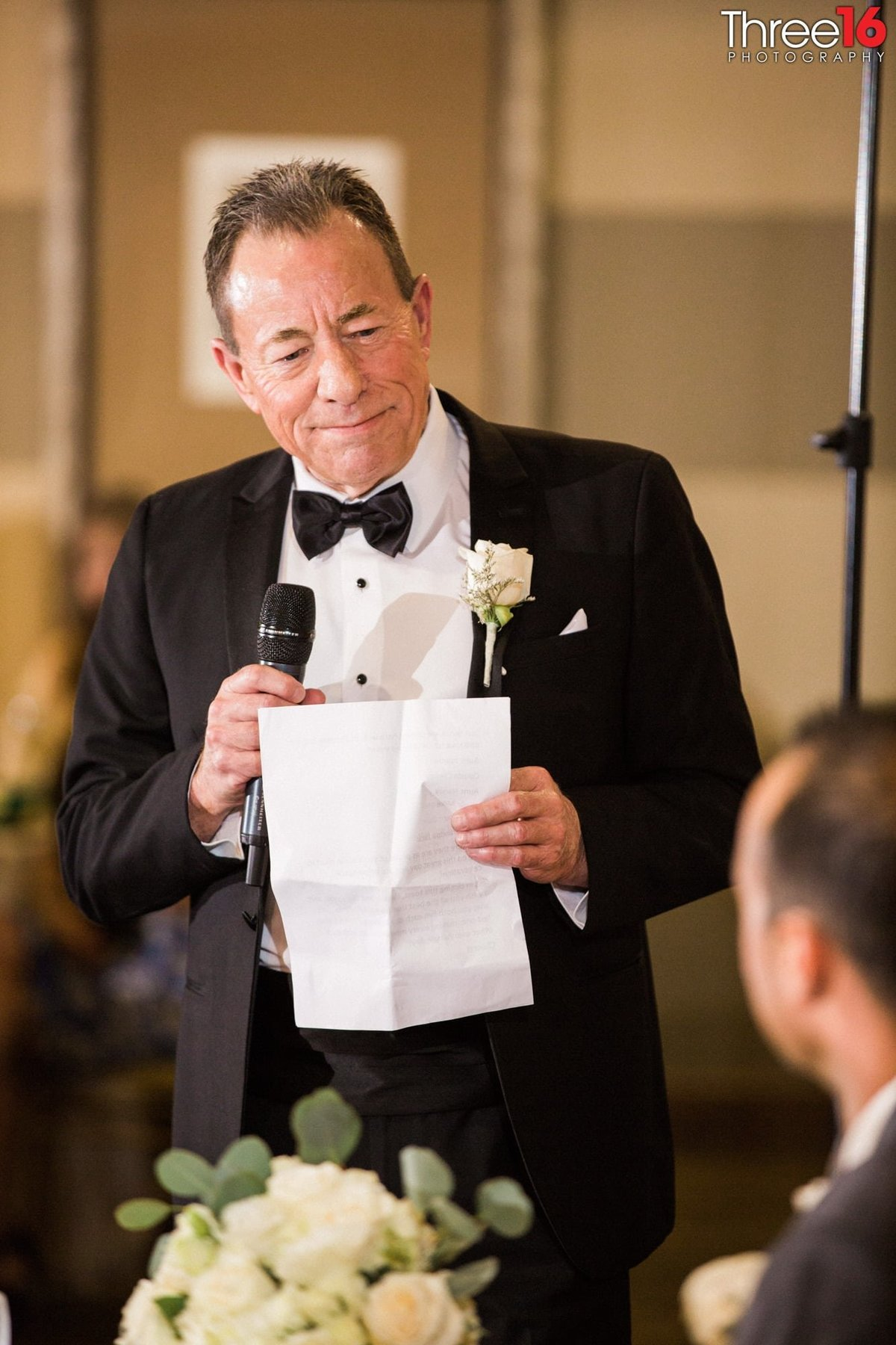 A special reading from dad at a wedding