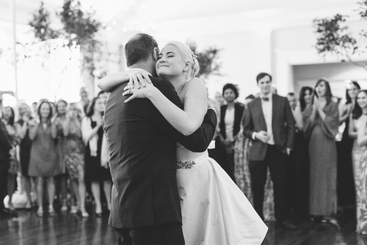 An emotional Father daughter dance moment captured  by luxury destination wedding photographer Rebecca Cerasani.