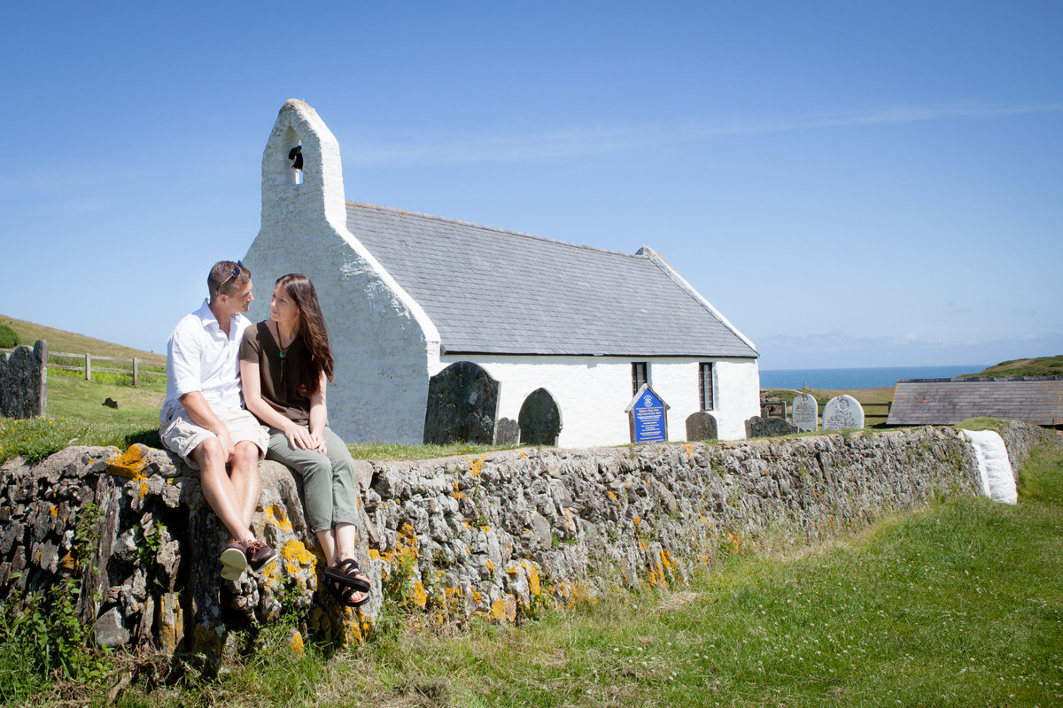 mwnt church wedding, engagement photos pre wedding at mwnt church