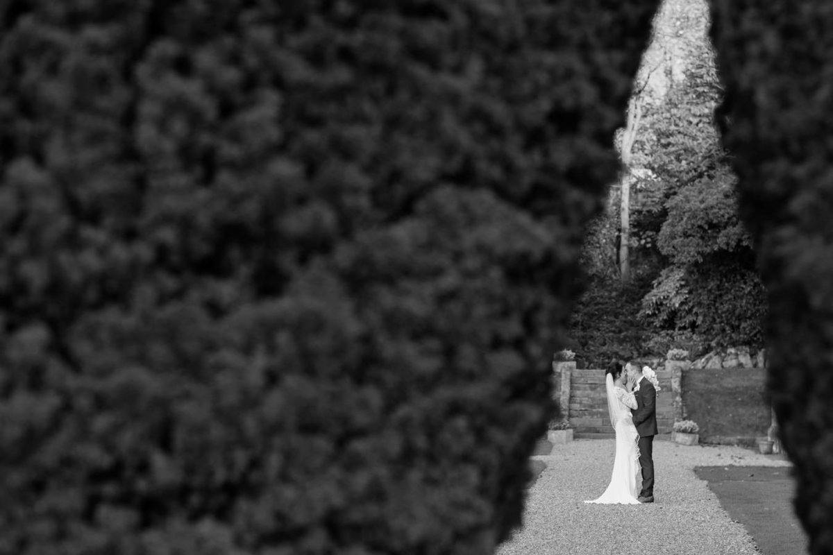 Black and white wedding photo at St Audries Park Somerset