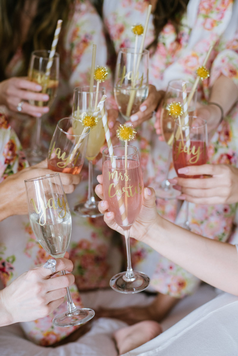 Pink champagne with pink bridesmaids robes
