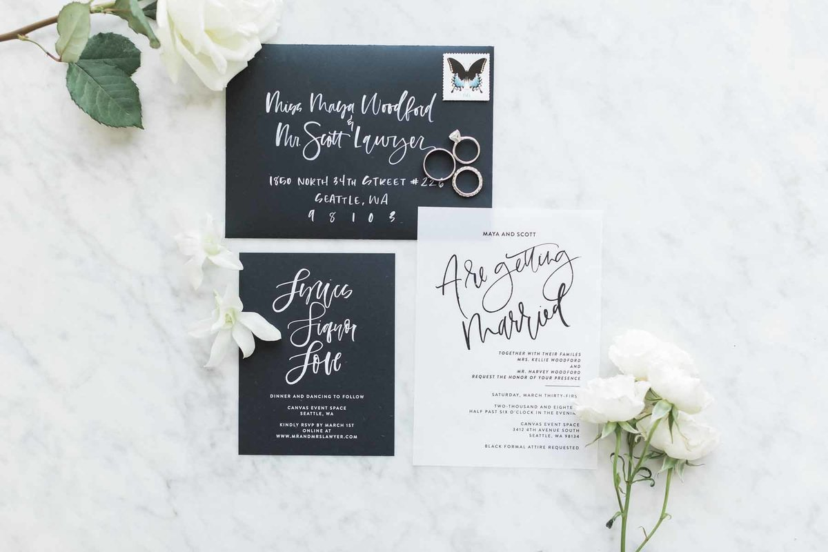 Beautiful black and white event invitation suite