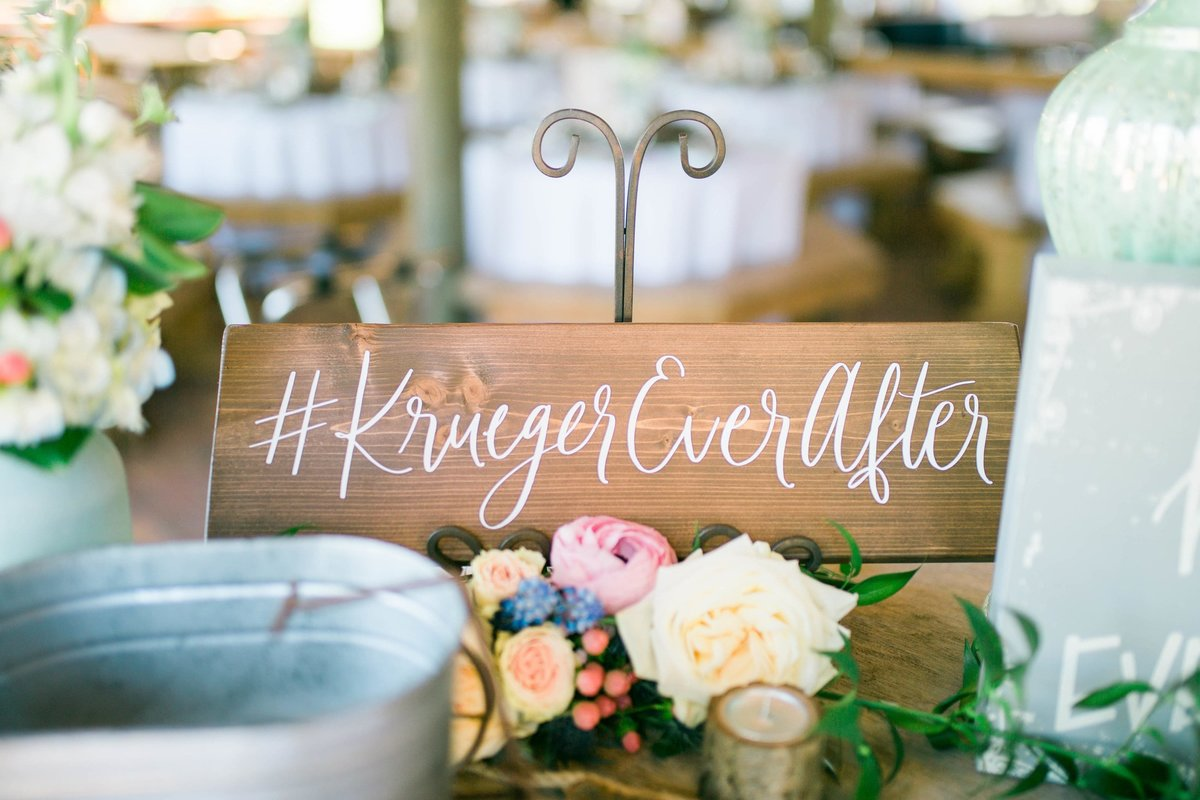 wedding hashtag wood sign