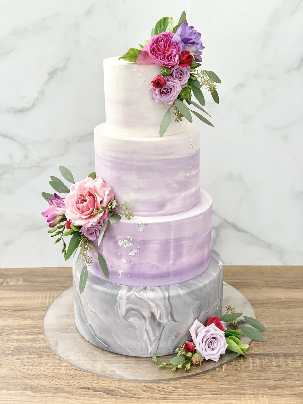 Buttercreamsmooth.fondant.colorfulpurple.ombre.floralbunches.ADE