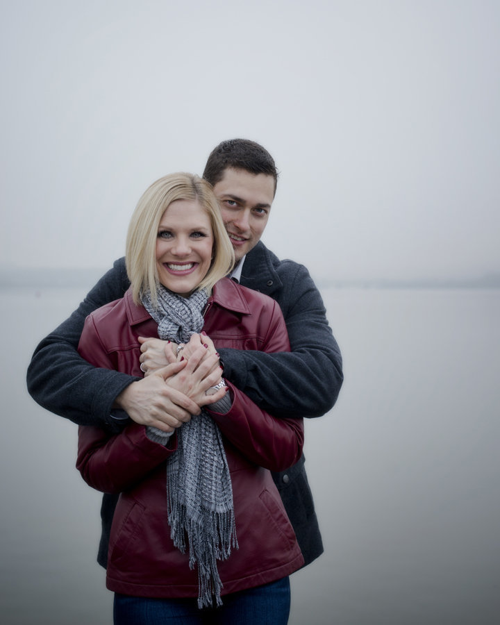 dark and moody engagement session in old town Alexandria on a foggy morning, Alexandria Engagement photographer