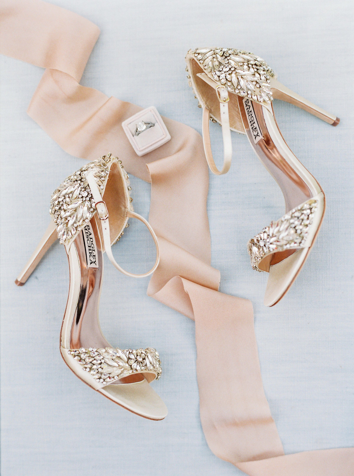 blush wedding shoes with crystals