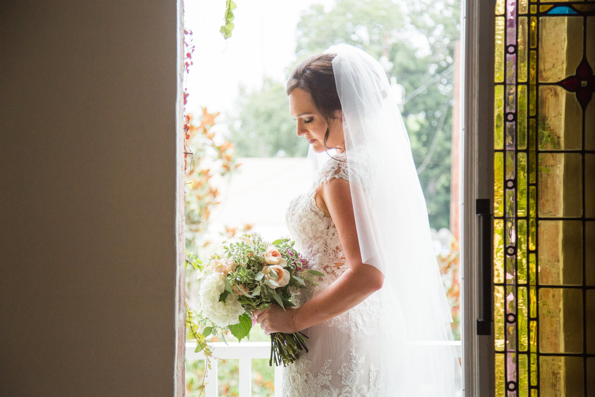 Bride just before ceremony at 1880 Union Hotel Wedding