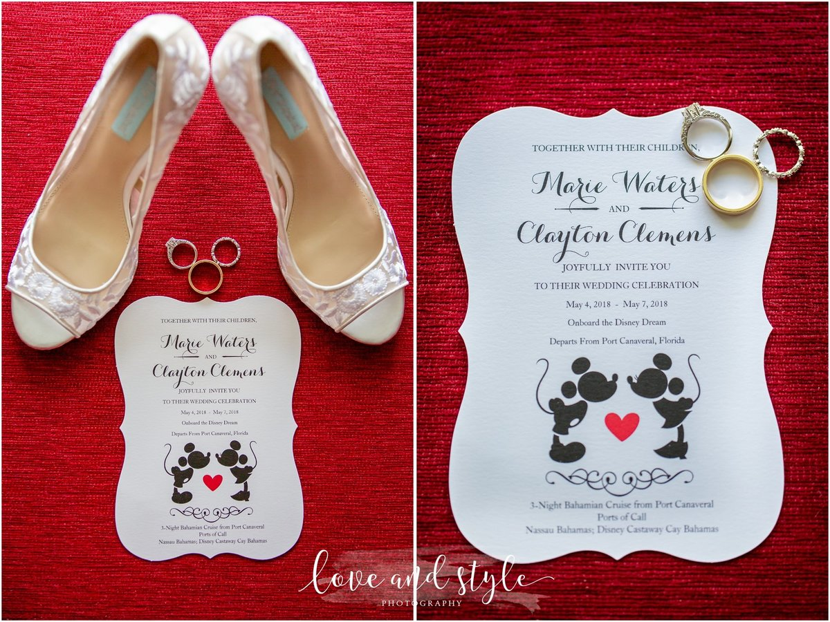 Disney Dream Cruise Wedding Photography close up of the shoes, rings, and invitation