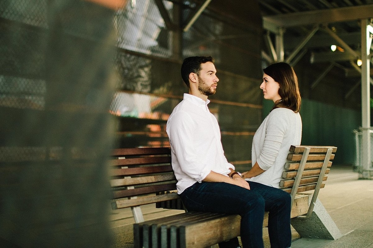 couple sitting together on new york highline