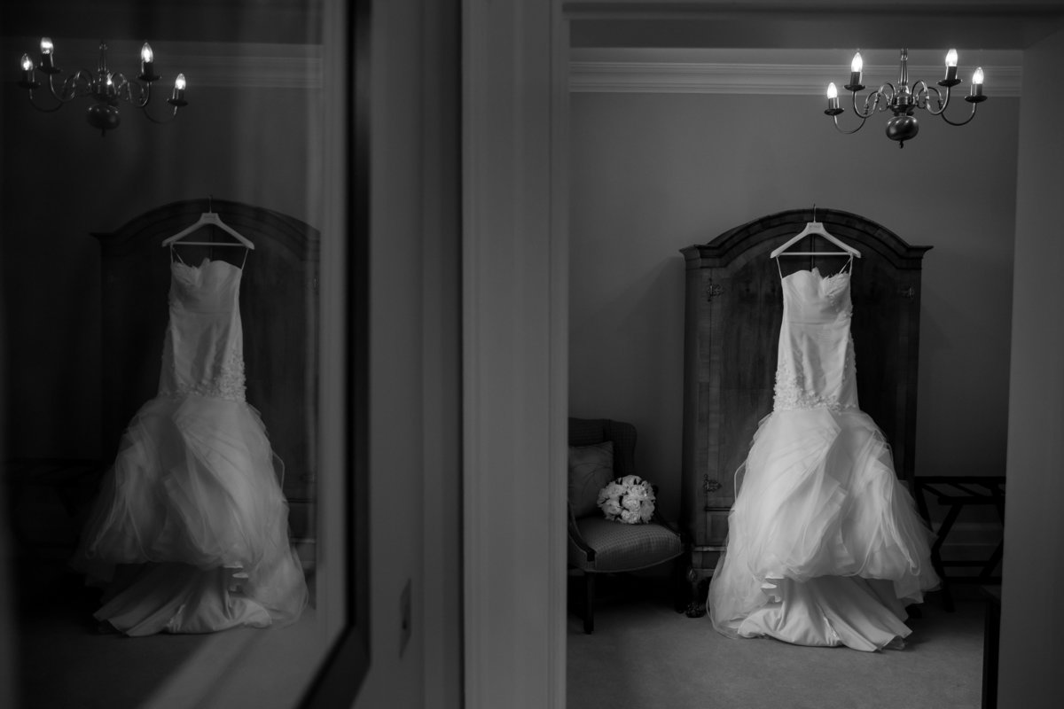 brides dress hanging up