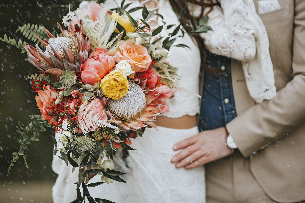 Amazing floral bouquet in mountain wedding from Fabloomosity