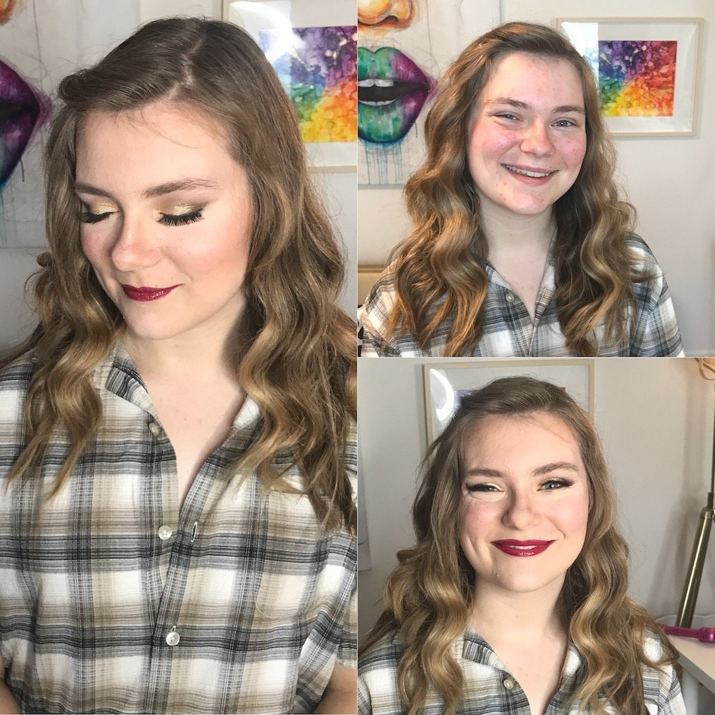 Before and After Makeup Natalie Setareh Senior Prom Vintage Glam