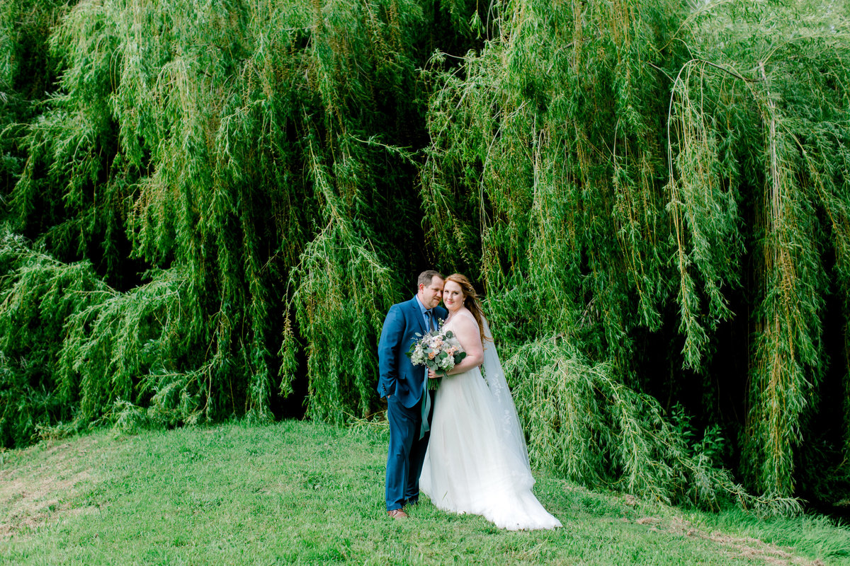 Bride and groom standing in front of willow tree at Olympias Valley Estate in Petaluma California