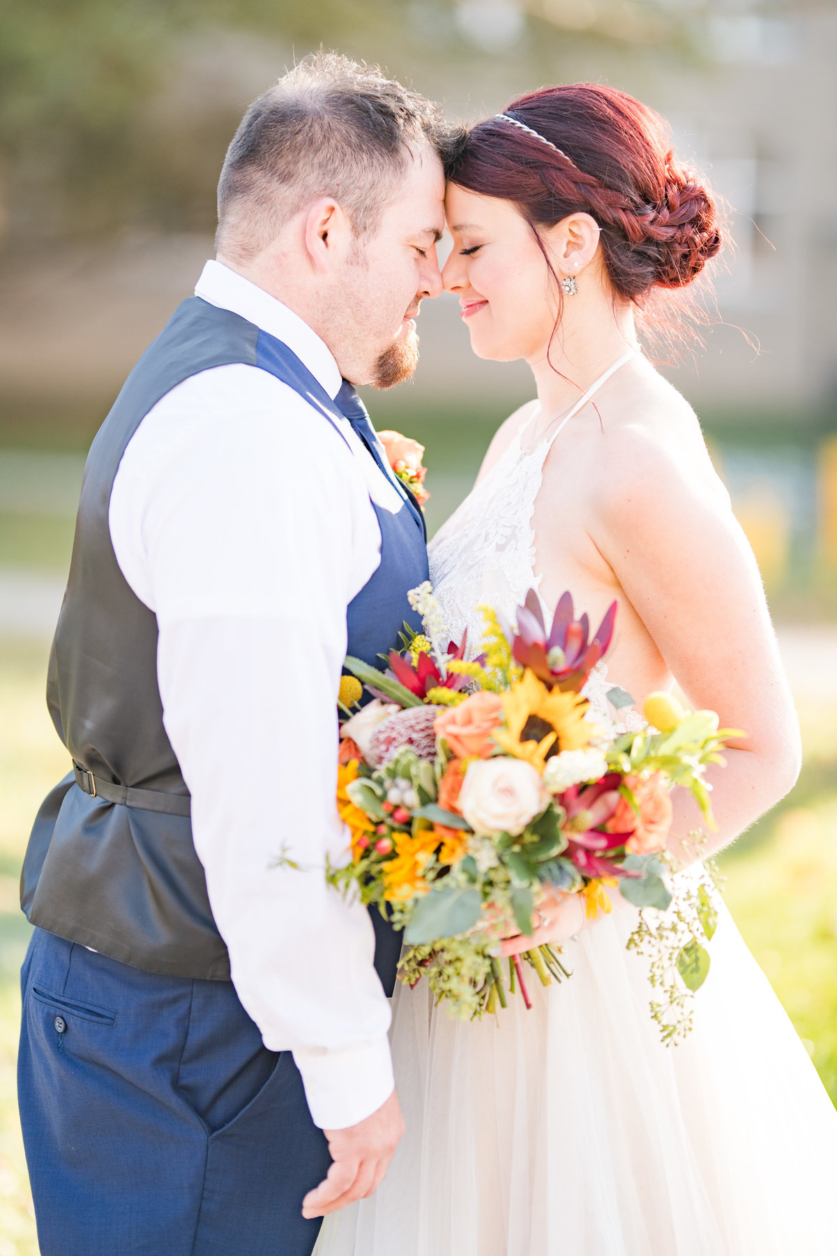 Couple Portraits Wedding Brewery Cincinnati Ohio Colorful Flowers-64