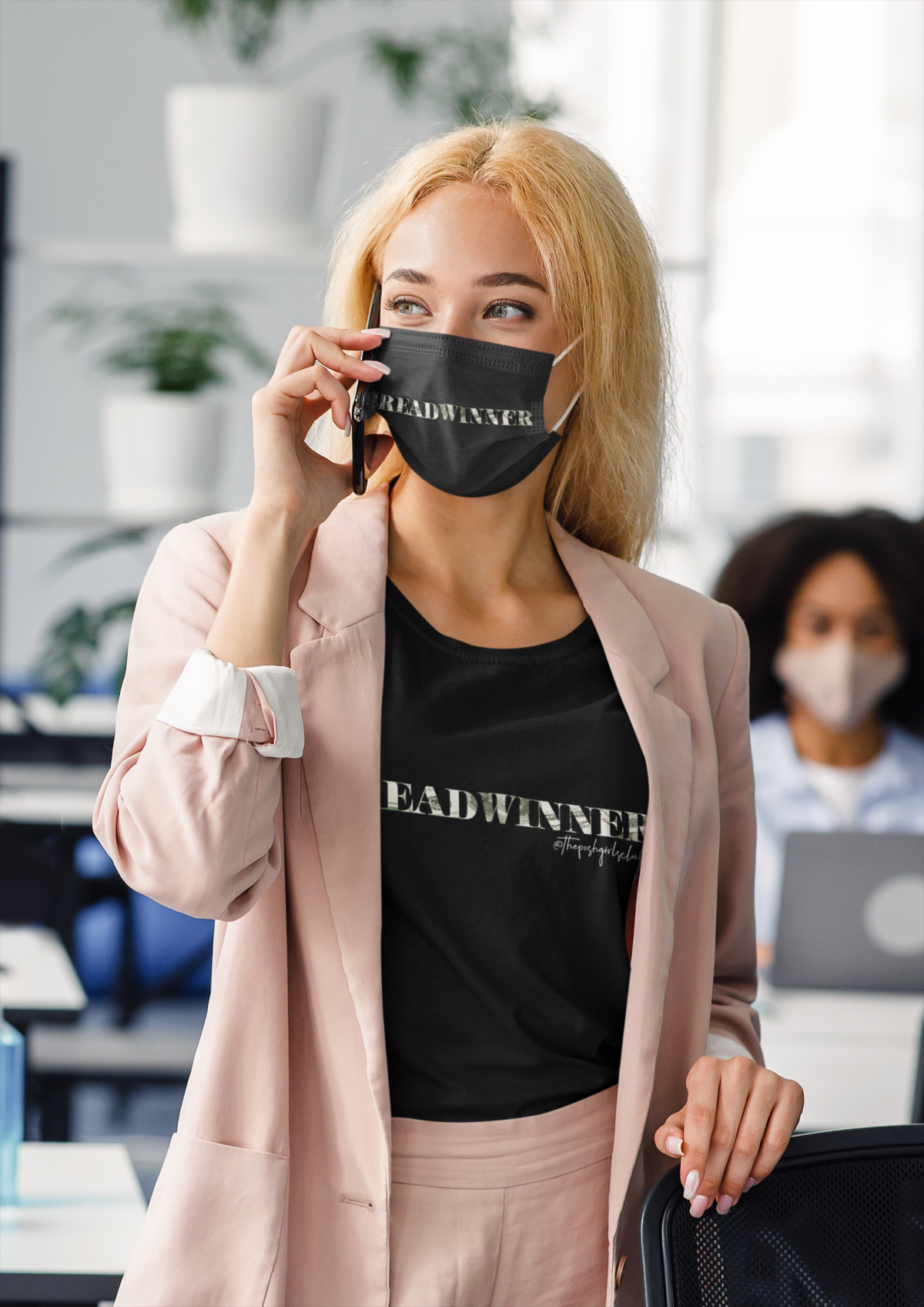 t-shirt-and-face-mask-mockup-featuring-a-woman-on-the-phone-at-work-44068-r-el2