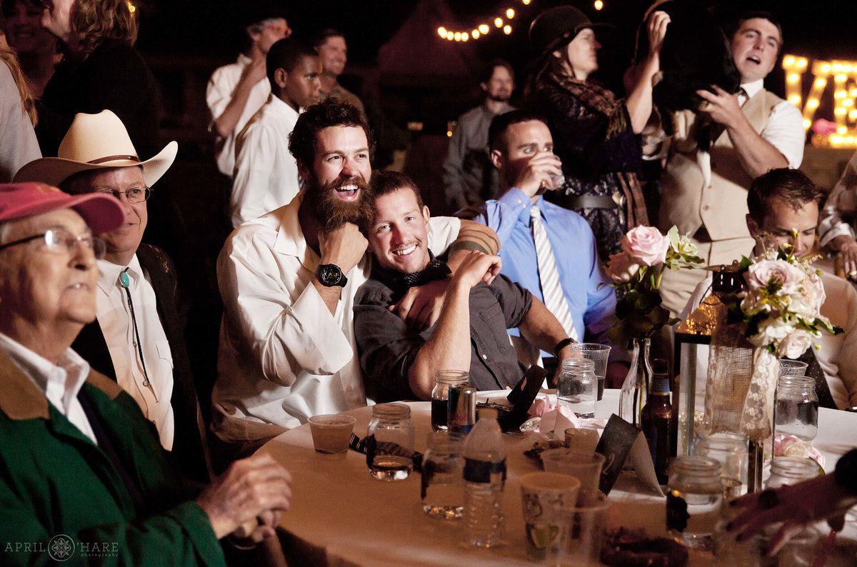 Outdoor Night Wedding Reception Photography at Private Boulder Farm in Colorado