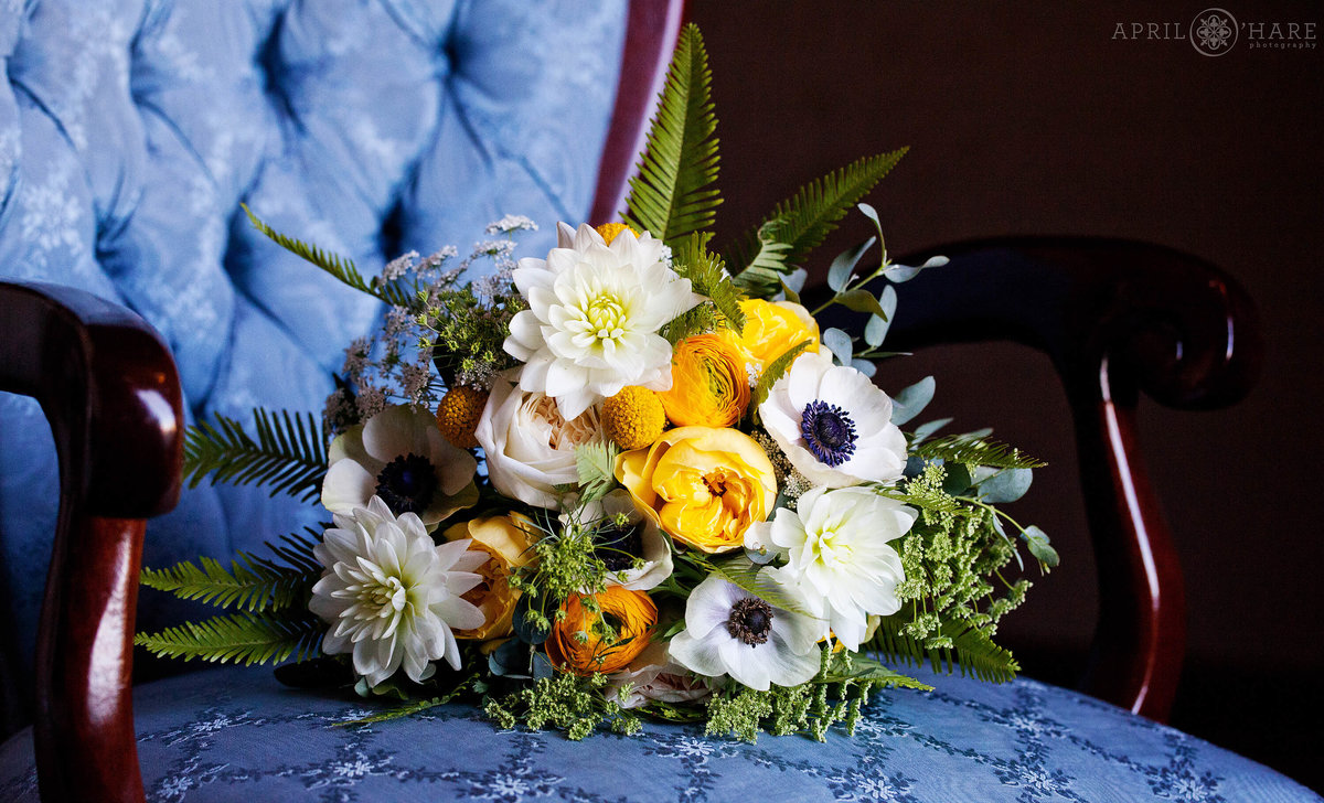 Bridal bouquet with blue and yellow at Hotel Boulderado