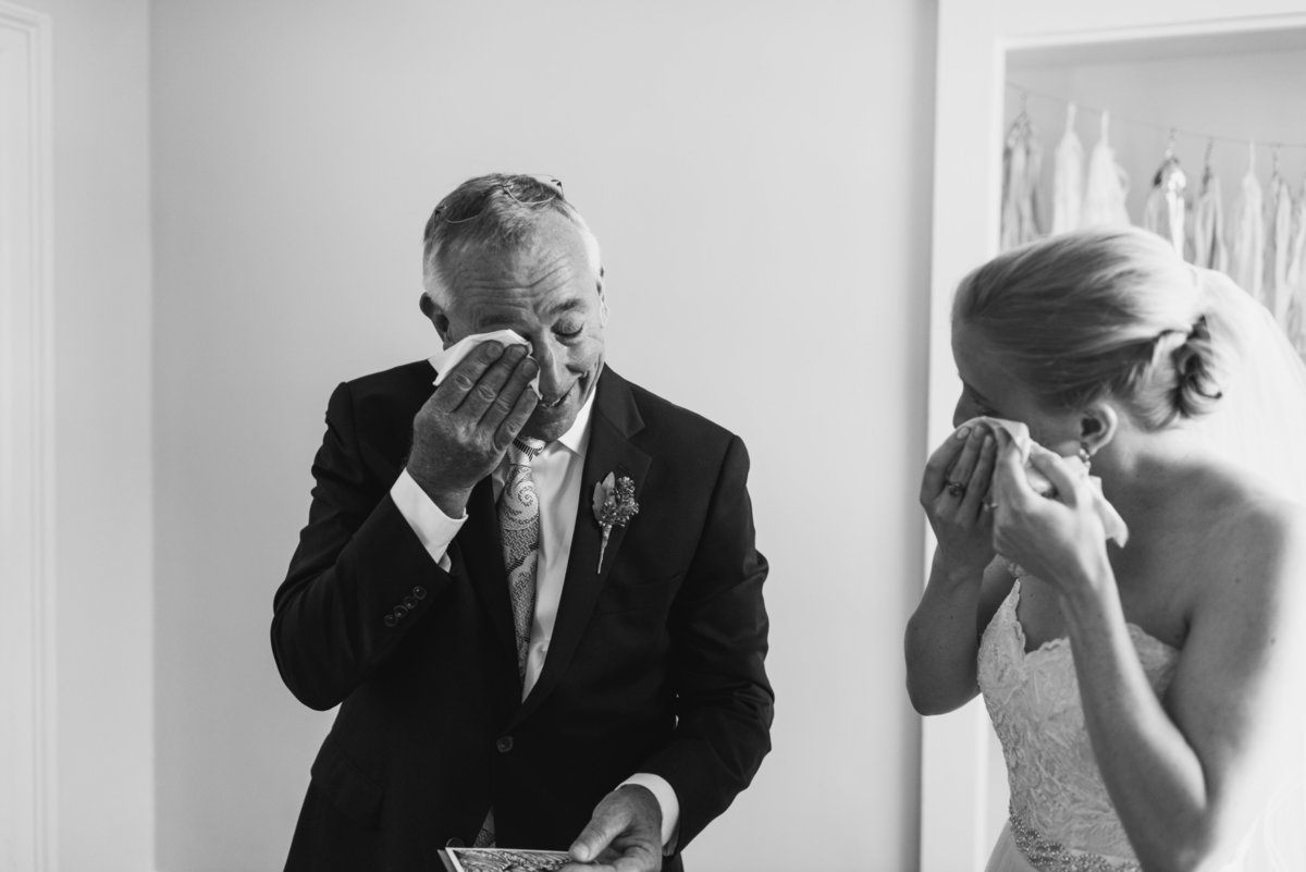 Emotional father daughter wedding photo