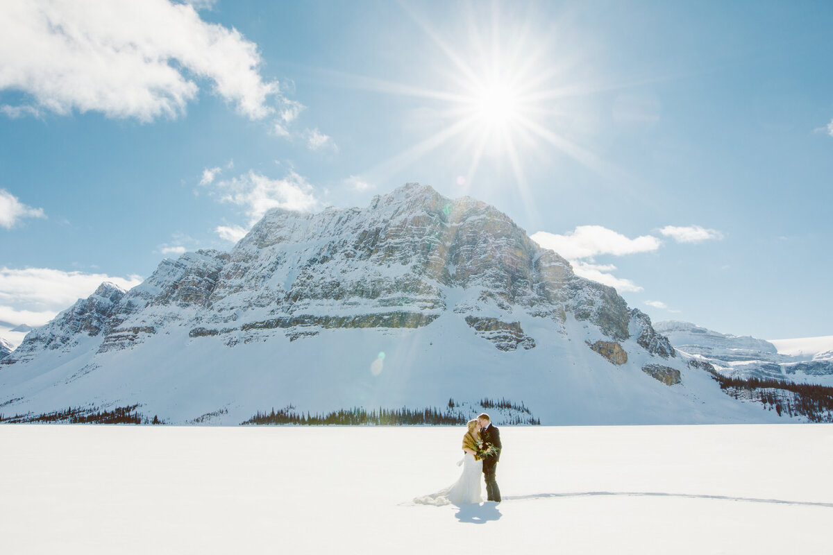 Winter Wedding Photo in Banff National Park