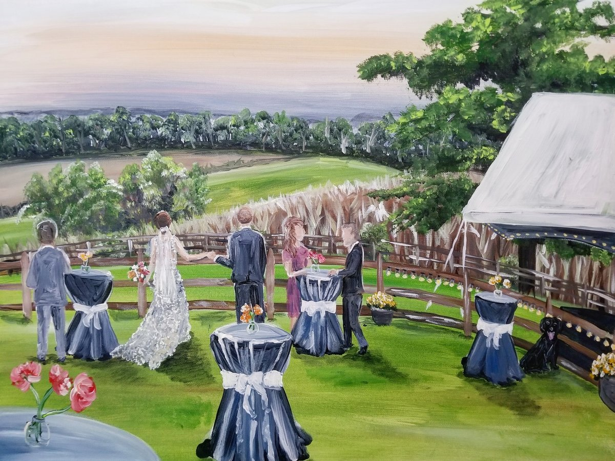 cocktail hour live wedding painting rustic farm Mount Airy Maryland