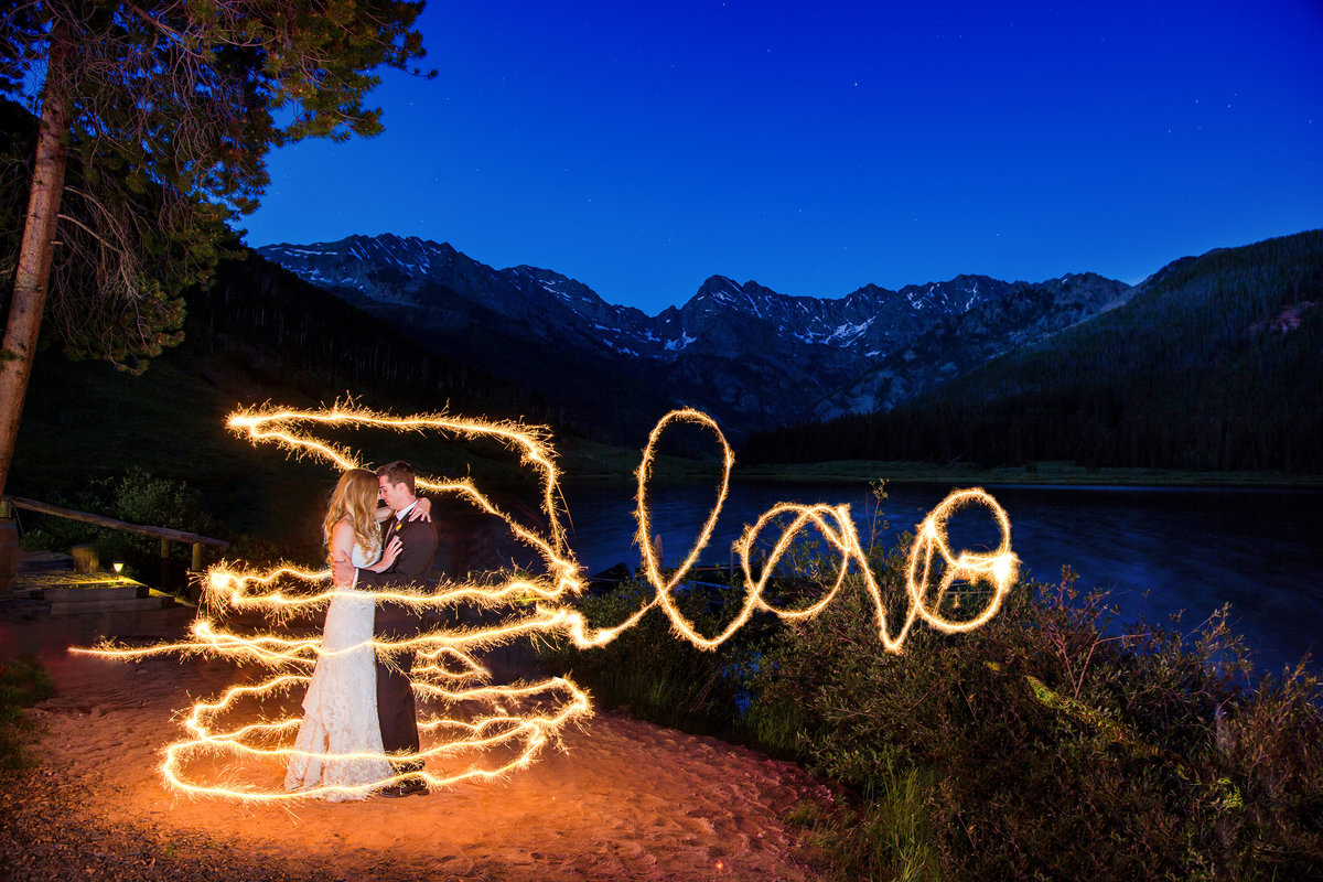 sparkler shot at night Piney river ranch