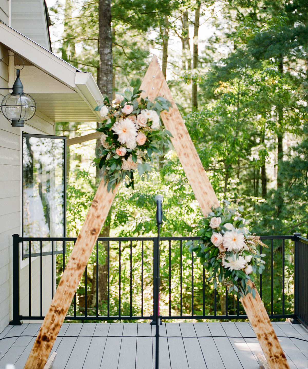 ceremony arch backyard deck wedding