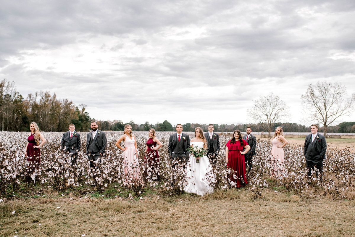 Wedding Party in cotton field Georgia