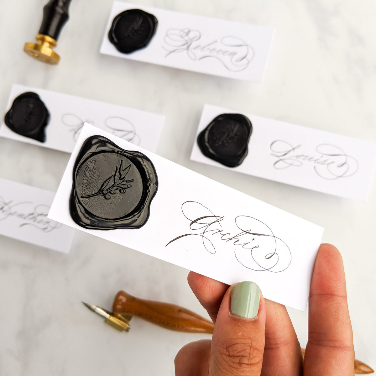 Black and white wax seal place cards | Jenni Liandu Calligraphy