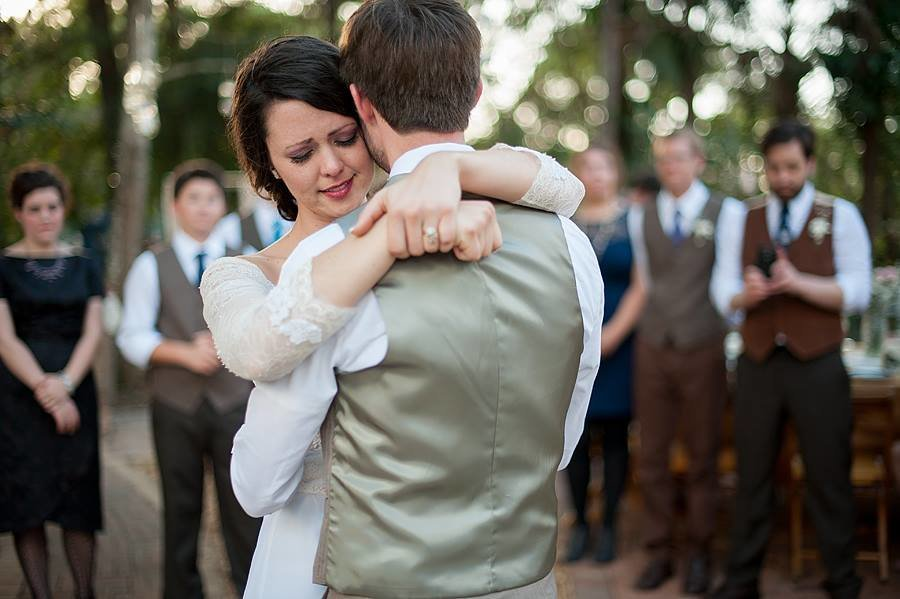 sweet moment of bride and groom in their first dance