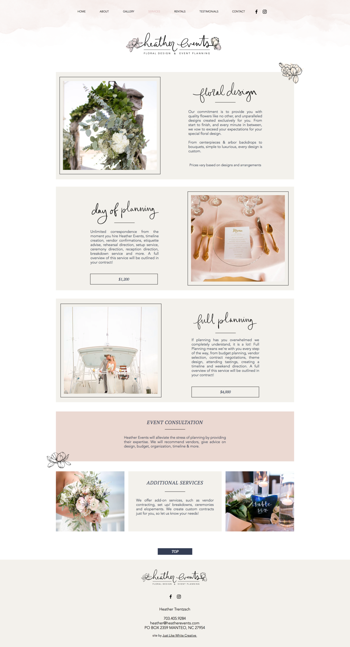 Beautiful website design for Heather Events by Tribble Design Co.