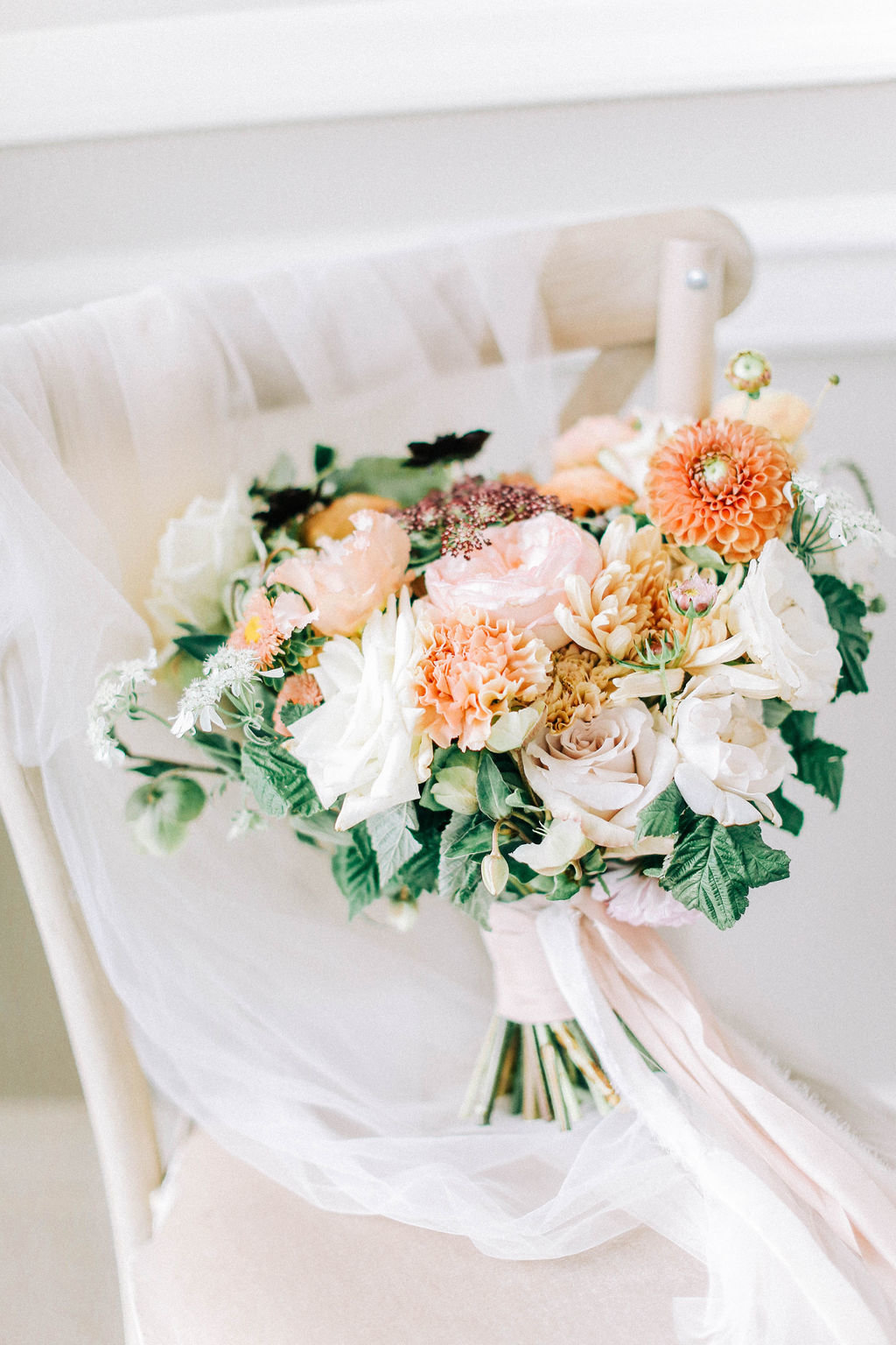 Beautiful Elegant Bridal Bouquet, Blush Pink, Ivory and Peach Wedding Bouquet Ideas