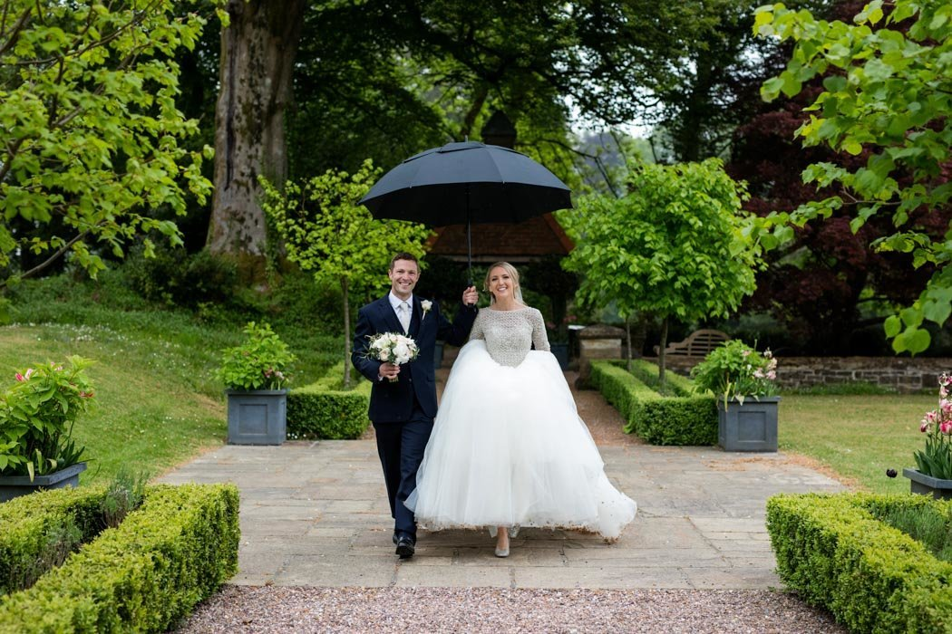 Rain on wedding day at Huntsham Court Devon