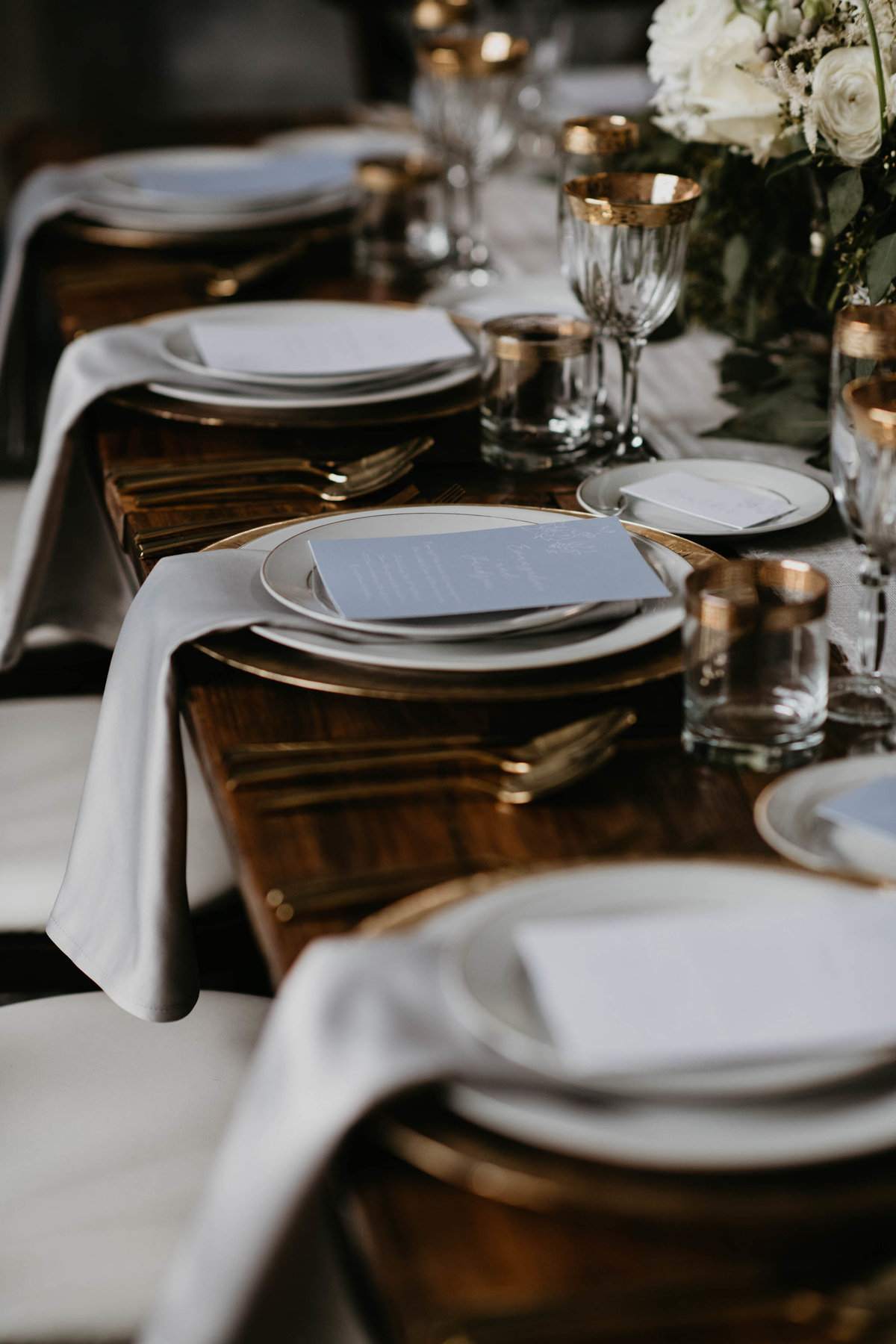 wedding menus placed one per table setting