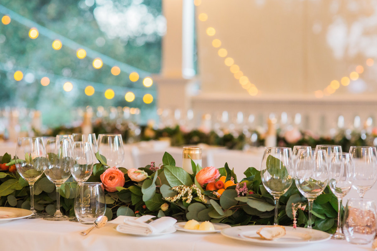 Extra details on reception tables at Madrona Manor in Healdsburg California